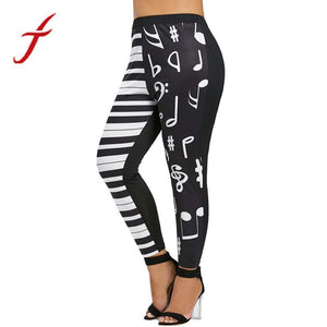 Feitong Women Mid Waist Leggings Music Note Print Elastic Sporting Pants Trousers legging fitness feminina academia Plus Size