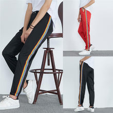 Load image into Gallery viewer, Womens Mid-Waist Casual Striped Print Sports Pants Harem Pants Jogger Pants Polyester Women's harajuku pantalon femme #81730