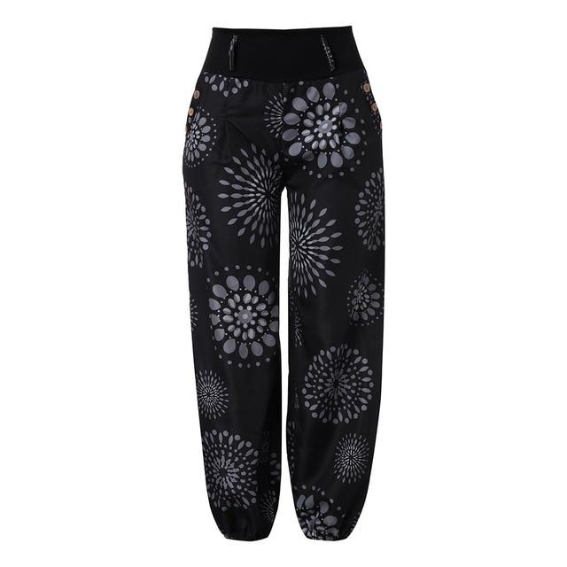 Plus Size 5XL Harem Pants Bohemian Vintage Womens Clothing Button Pocket Loose Pants Print Women Clothes Vintage Trousers Women