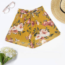Load image into Gallery viewer, Feitong Tie up casual Womens shorts Floral Printing High Waist Loose Shorts Elastic Waist Ringer Shorts summer 2018 Beach Hot