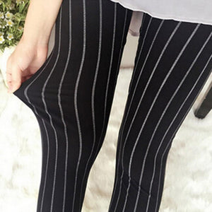 2018 New Fashion Women Elasticity Skinny Striped Stretchy Pants Leggings Pants Casual Ladies Cropped Pants