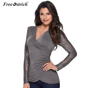 Free Ostrich T-Shirts Women 2018 Sexy Casual Long Sleeve Tees Elegant Female Lace Zipper Spring Loose Deep V Neck Jumper A2630