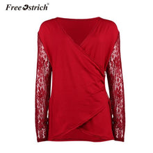 Load image into Gallery viewer, Free Ostrich T-Shirts Women 2018 Sexy Casual Long Sleeve Tees Elegant Female Lace Zipper Spring Loose Deep V Neck Jumper A2630