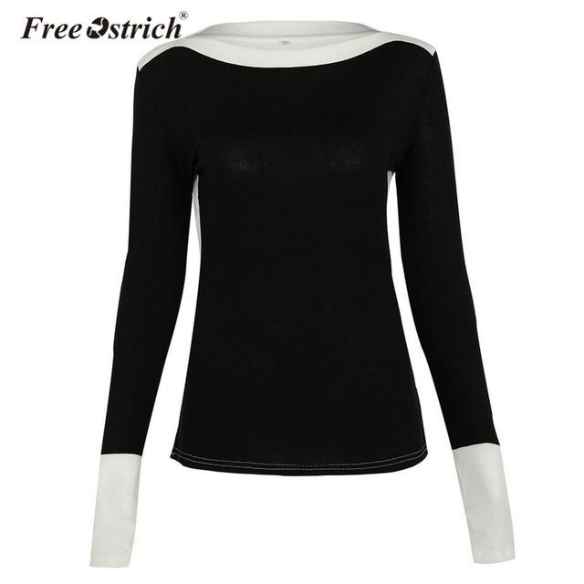 Free Ostrich T Shirt Women Autumn Winter Cotton Long Sleeve Patchwork Knitted Tops Casual Slim Elegant Pullovers Female L2135
