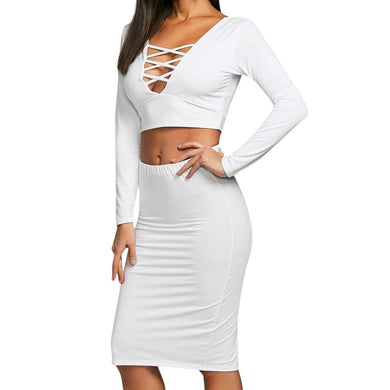 2 Piece Set Women Sexy Crop Top And Skirts Two Piece Outfits Womens Cross Long Sleeve Crop Tops Women High Waist Skirts Set