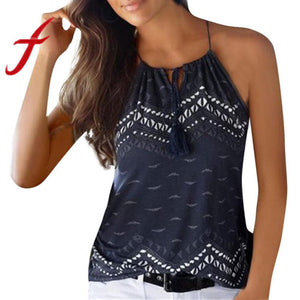 Feitong Women Halter Tank Tops Camis Summer Printed Loose Sleeveless Casual Tank T-Shirt Blouse Tops Vest regata feminino 2018