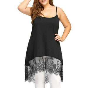 Plus Size 5XL 2018 Summer Tank Top Womens Lace Patchwork O Neck Camis Tunic Sleeveless Ladies Long Clothes Women haut femme