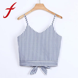 Feitong Women's Lady Crop Tops Sexy Self Tie Back V Neck Stripe Printed Crop Cami Tank Tops Camisole Blouse regata feminina 2018