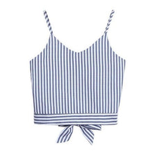 Load image into Gallery viewer, Feitong Women's Lady Crop Tops Sexy Self Tie Back V Neck Stripe Printed Crop Cami Tank Tops Camisole Blouse regata feminina 2018