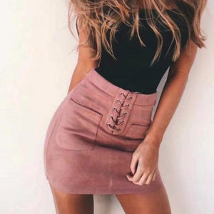 Fashion Women Girl Summer High Waist A-line Skirts Button Front Suede Leather Casual Bandage Short Pink Mini Skirt Saia Faldas