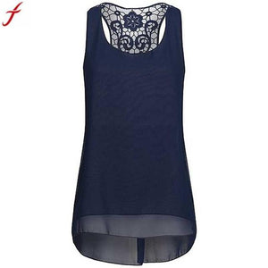 Plus Size 5XL Tank Tops For Women Summer Fashion Sleeveless Chiffon Tunics Shirt Back Hollow Out Lace TShirts Top haut femme#2