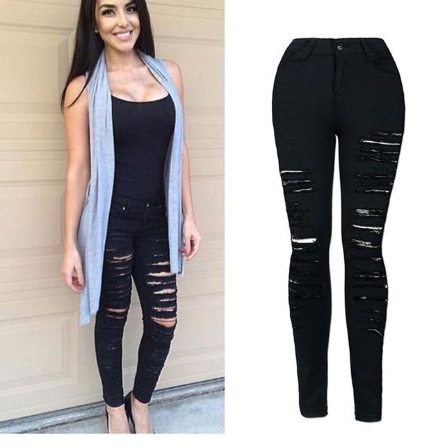 2018 Autumn Black Hole Skinny Ripped Jeans Women Jeggings Cool Denim High Waist Pants Capris Female Skinny Black Casual Jeans