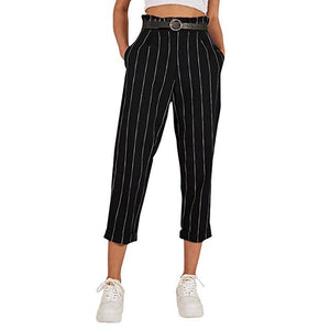 Fashion Women High Waist Harem Pants Women Bowtie Elastic Waist Stripe Casual Pants Free Shipping Button Pants With Pockets