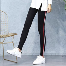 Load image into Gallery viewer, Workout Pants Women's Super Elastic Sportes Pants Black Gray Tummy Control Capris Pants Fashion Stripe On side Plus Size S-5XL