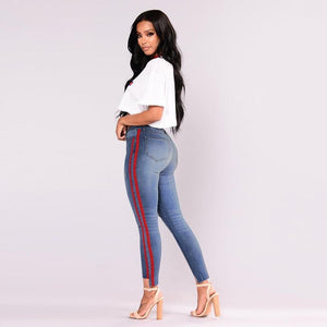 CHAMSGEND Ladies' Hole Jeans Women Side Webbing High Waist Stretch Jeans Feet Pants High Quality Solid Jeans Oc15