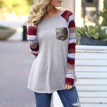 Load image into Gallery viewer, Fashion Women Striped Splicing Tshirt 2018 Baseball Spring Autumn O Neck Long Sleeve Tees All Matched Sequined Pocket T Shirt