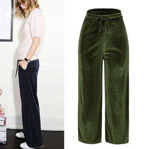 Fahion Women Gold Velvet Pants Loose Wide Leg Trousers Wide-legged Causal Pant Plus Size 3XL 4XL 5XL 6XL