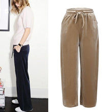 Load image into Gallery viewer, Fahion Women Gold Velvet Pants Loose Wide Leg Trousers Wide-legged Causal Pant Plus Size 3XL 4XL 5XL 6XL