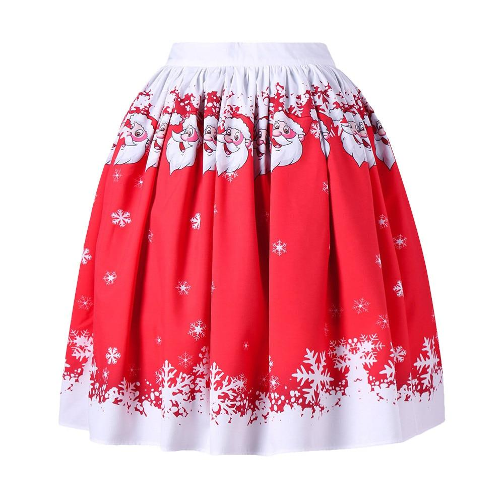 Women's Sexy Christmas Santa Printed Swing Performance A-Line Loose Skirt Winter red fashion casual skirt