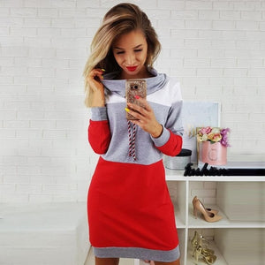 Winter Sexy Women Bodycon Party Dresses Spring Autumn Ladies Fashion Patchwork Bandage Slim Mini Hoodie Shirt Dress Vestidos #YL