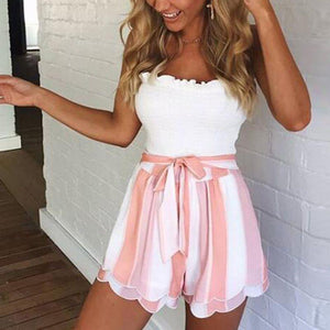 2018 Fashion Shorts Women Bow Casual Sexy Stripe Print Lace Petal Double-layer Female Shorts Hot H7