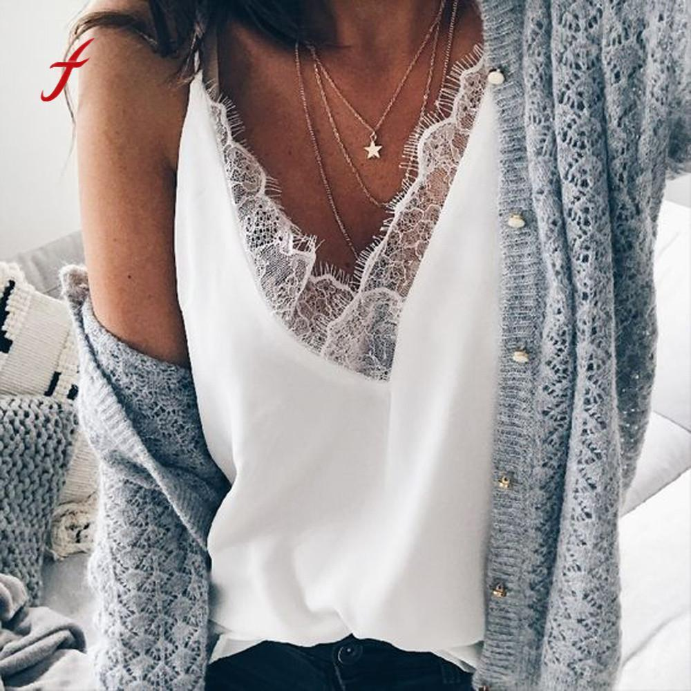 Feitong Fashion Women's Summer Lace Camis Women Chiffon Sexy Vest Camisole V Neck Tops Sleeveless Strap Tops White /PY