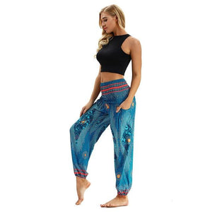 Long Pants Trousers calca Harem Pants Boho High Elastic Waist Printing Pants Hippy camo pants calca feminina spodnie