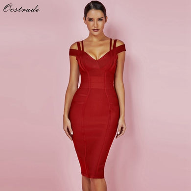 Ocstrade New Women Bodycon Dress 2018 Summer Sexy Bandage Off Shoulder Sexy High Quality Wine Red Bandage Dress Rayon Plus Size