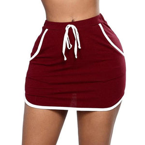 Women Fashion Party Mini Skirt Ladies Summer Skater Short Skirt Lace up Soild Bodycon Wrap Solid Mini Boho Skirts