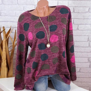 women Long sleeve t shirt Female streetwear hipster 2018 Spring Summer new fashion clothing hip hop Polka Dot Round Neck t-shirt