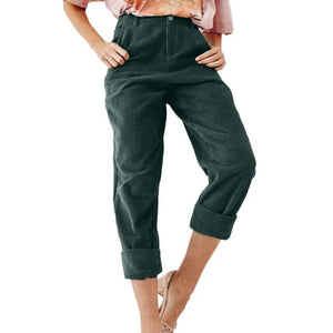 Women Fashion Solid Corduroy Full Length Button Fly Pants With Pocket pantalon taille haute femme