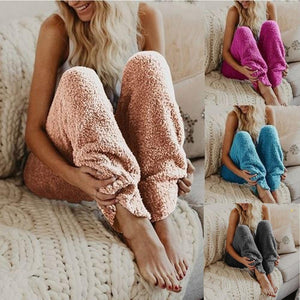 Winter Pants Women Casual Fur Warm Fitness Sport Leggings Winter Fleece Legging Pants Solid Color Casual Loose Trousers 2018