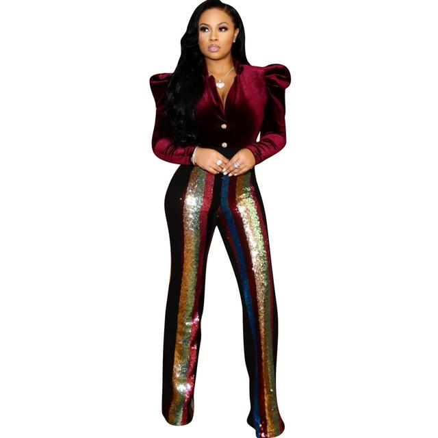 Elegant Sequined Patchwork Long Pants Women Casual Striped Sequin Sexy High Waist Women Pants Night Club Party Slim Pant Female