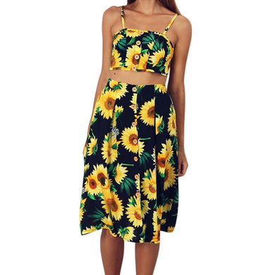 2 Piece Set Women Sexy Crop Top And Skirts Two Piece Outfits Women For Summer Sunflower Print Sexy Tops Women Skirts Set