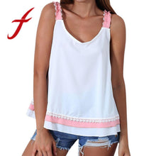 Load image into Gallery viewer, Feitong Summer Women Causal Blouses Fashion Sexy Lace Backless Bow Sleeveless Tank Tops regata feminina cropped feminino 2018