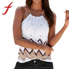 Load image into Gallery viewer, Feitong Fashion Summer Women Tank Tops Sexy Halter Print Loose Sleeveless Casual Shirt Blouse Cropped Tops Vest regata feminina