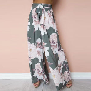 2018 Women ladies boho wide leg pants Sexy High Waist Flower  Print Floral Wide Leg Pants newest style hot sale fashion summer