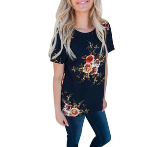 plus size 2018 Women Ladies Sexy Casual Floral Printing T-shirt Short Sleeve Tops T shirt women short feminino