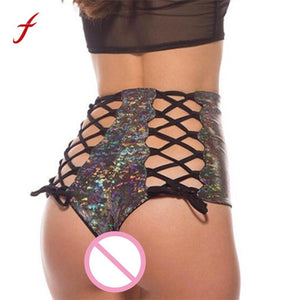feitong 2018 New Fashion Women Short Silver Rainbow Sequined Print Elastic Sexy Bandage Shorts Bohemian Patchwork Shorts