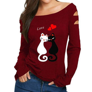 ISHOWTIENDA T-Shirts Women 2018 Love Cats Print Long Sleeve Women Tshirt Casual Off the Shoulder Tops Sexy Female T-Shirts
