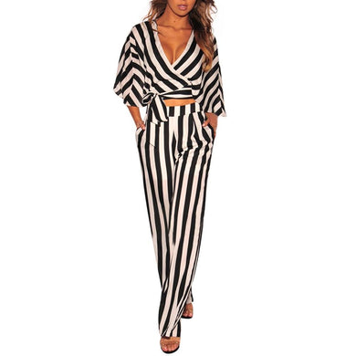 2 Piece Set Women Sexy Crop Top And Pants Two Piece Set Women Streetwear Pocket Striped Outfits Clothes Women Long Pants Set