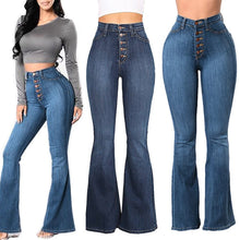 Load image into Gallery viewer, Women Autumn Elastic Plus Loose Denim Pocket Button Casual Boot Cut Pant  Jeans Women's slim straight line button flare jeans