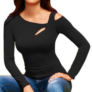 ISHOWTIENDA Summer Sexy Women T Shirt Long Sleeve Casual Tee Tops Cold Shoulder Female Tshirt Solid Women T Shirts