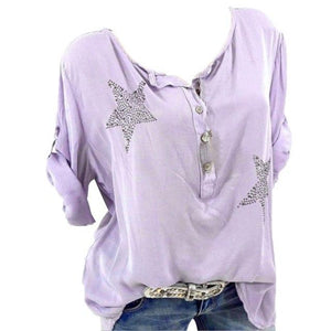 female T-shirt Women Button Five-pointed shirt Star Hot Drill Plus Size Tops Three Quarter newet style t shirt camisas de mujer