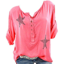 Load image into Gallery viewer, female T-shirt Women Button Five-pointed shirt Star Hot Drill Plus Size Tops Three Quarter newet style t shirt camisas de mujer