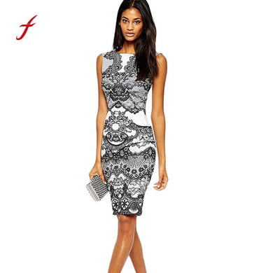 feitong 2019 Best Selling High Quality Hit Color Flower Vintage Print Elegant Pencil Dress Sleeveless Dress S/M/L/XL snake print