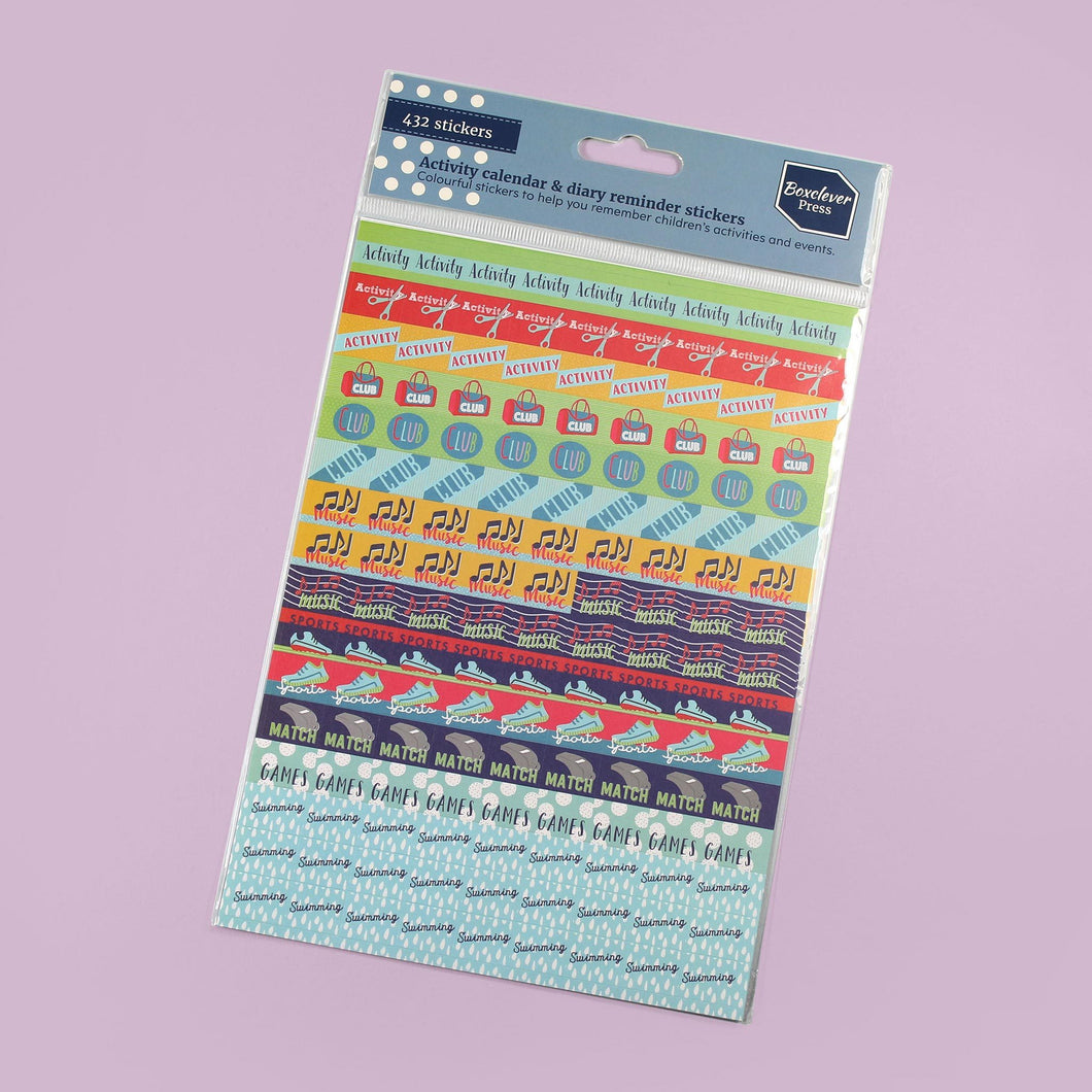 BCSTICK-1-ACT-Category_1 Colourful reminder diary stickers; words such as sports, match and music on a purple background.