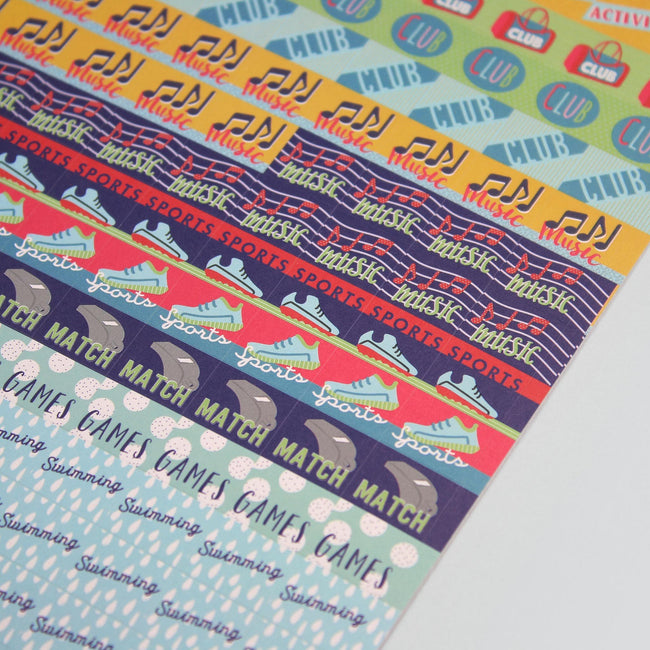 BCSTICK-1-ACT-Gallery_3 Close up of music, sports, match and game diary stickers on pale purple background with colourful design