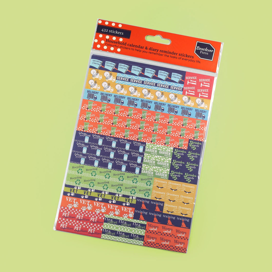 BCSTICK-1-HOU-Category Colourful house chore themed reminder stickers including 'recycling, 'service' and 'delivery' on green background