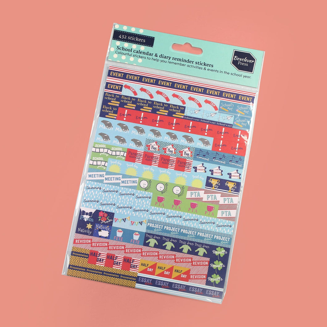 BCSTICK-1-SCH-Category Calendar planner and diary school reminder stickers with slogans like match, PTA and results.